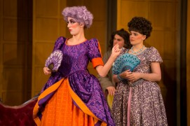 """Victoria Fortune '20 (left) is Lady Fidget and Sarah Green '19 is Mistress Dainty Fidget in UMW's production of """"The Country Wife."""" Jake Dodges '20 (background) plays Quack in the show, onstage at Klein Theatre through April 20. Photo by Geoff Greene."""