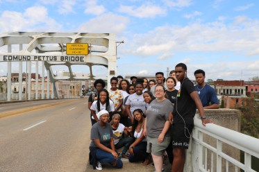 JFMC's staff said that impactful experiences like the Social Justice Fall Break Trip help students connect the dots between past and present-day civil rights struggles. The inaugural trip in 2017 took the UMW group to Selma, Alabama, where they crossed the Edmund Pettus Bridge, site of the brutal 1965 Bloody Sunday police attack against civil rights protestors. Photo provided by JFMC.