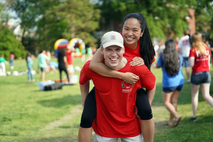 Nancy Pham and Theo Zotos, vice president and president of the Class of 2019, got to know each other before freshman year in the Student Transition Program. Photo by Suzanne Carr Rossi.