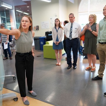 """UMW student Brittany Gowarty presents """"Influence of Social Status on Hippocampal BDNF,"""" the subject of her research during the 10-week Summer Science Institute. Photos by Suzanne Carr Rossi."""