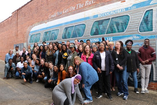 For JFMC's Social Justice Fall Break Trip, a group of 20 area residents joined 45 UMW students, as well as faculty and administrators, to trace the route of the 1961 Freedom Rides, the historic protest to desegregate interstate travel, organized by Dr. Farmer. Photo by Lynda Allen.