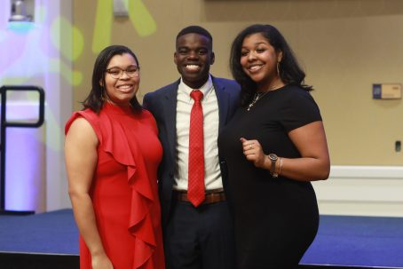 "From left to right, UMW junior Mandy Byrd, who serves the University's NAACP chapter in a technical capacity, poses with Nehemia Abel, winner of this year's Citizenship Award for Diversity Leadership, and UMW NAACP chapter president Brianna ""Breezy"" Reaves. Photo by Karen Pearlman."