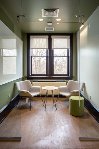 """Study nooks like this one are among the features in the newly renovated Willard Hall, which also includes movable glass walls, a media room and a """"teaching"""" kitchen. Photo by Craig Hutson, Kjellstrom and Lee Construction."""