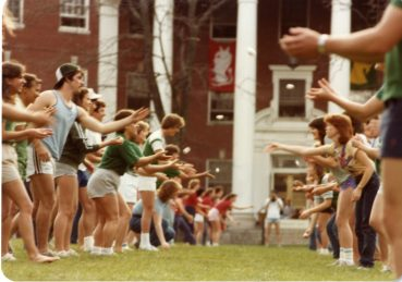 Students participate in an egg toss on Devil Goat Day in 1983. Photo courtesy of Simpson Library Special Collections.