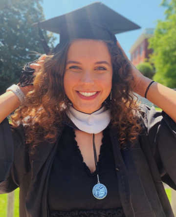"2020 graduate Anna Sager said she's so grateful that she chose to come to Mary Washington. ""Wish it wasn't coming to an end, but I'm ready to see where my degree takes me,"" she said."