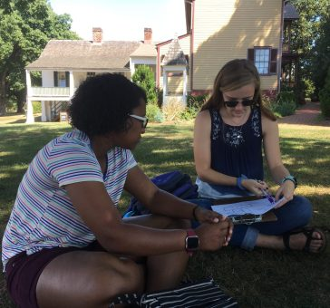 Kelsey Chavers (left) and Kylie James (right) record results of how a tour was conducted at James Monroe's Highland Plantation in Charlottesville. The two were among eight Mary Washington students, throughout a four-year period, who helped with the research.
