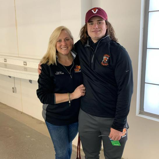 Shepherd with her son, Carter, who will attend college in Pennsylvania this fall. A recent James Monroe High School graduate, Carter swam for the high school's swim team under Konrad Heller, Shepherd's former teammate.