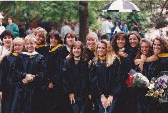 """My favorite thing about my time at Mary Washington was the friendships I made,"" said Shepherd, seen here at her 1994 graduation (fifth from right). ""I still keep in touch with friends and former roommates and swim teammates."""