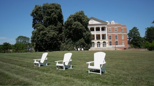The iconic Adirondack chairs on UMW's Ball Circle are now situated farther apart, due to the threat of COVID-19. The look and feel of campus will be different when students return next month, but administrators are committed to preserving as much UMW pizazz as possible.