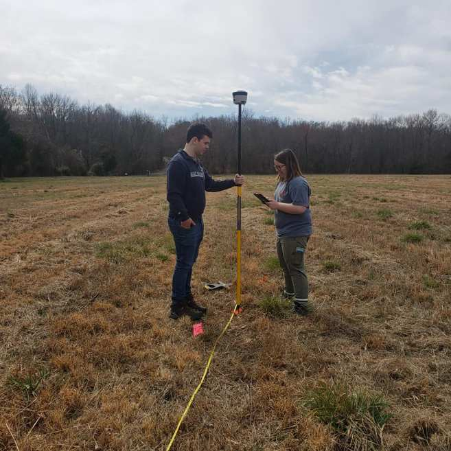 Over spring break, Bova was one of a few students who helped Assistant Professor of Historic Preservation Lauren McMillan survey an archaeological site, combining skills he gained in his GIS classes with his historic preservation major. Photo courtesy of Lauren McMillan.
