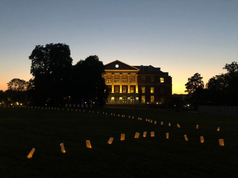 At the first-ever virtual Eagle Gathering, administration, faculty, staff, current students and alumni welcomed new Eagles to UMW yesterday through a livestream on Zoom and YouTube. Volunteers lined Campus Walk with 1,129 luminaries, each representing a new student at Mary Washington.