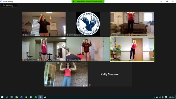 Campus Recreation fitness instructors work out together on Zoom.