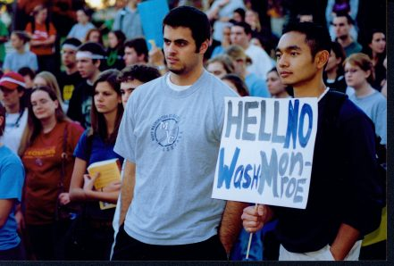 "Dave Beekman (left) and Miguel Laygo (right) were among the students who attended a ""Save the Name"" rally in spring 2004 to urge the school to keep ""Mary Washington"" in its name. Photo courtesy of UMW Libraries' Special Collections and University Archives."