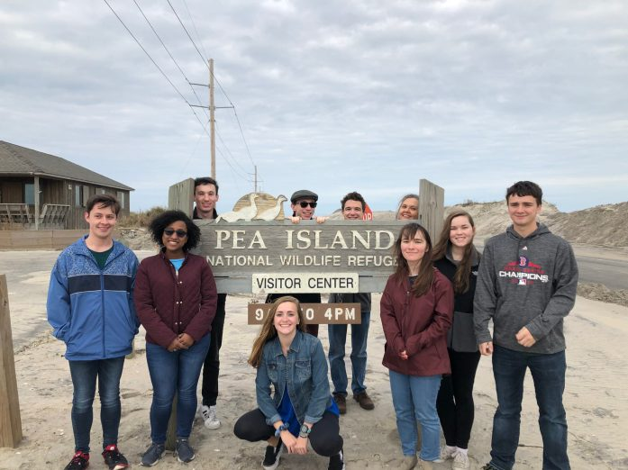 UMW students visit Pea Island, part of the Outer Banks barrier island system in North Carolina. The new Beyond the Classroom Endowment will ensure that travel, internship, conference and other such enriching experiences continue to be a key part of a Mary Washington education.