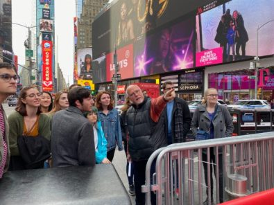 UMW theatre students on a pre-pandemic trip to New York City and Broadway. The Beyond the Classroom Endowment will ensure Mary Washington students continue to experience extraordinary learning opportunities like this one.