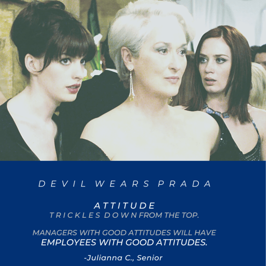 "A J-term course called Management and Film asks students to analyze workplaces depicted in movies like ""The Devil Wears Prada."" This image is among those Assistant Professor of Management Alexandra Dunn has posted on Instagram, @dr.alex.dunn, to document the course."