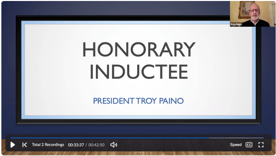 """UMW President Troy Paino received an honorary induction to the UMW chapter of Phi Beta Kappa. """"You are the top 10 percent of the top 10 percent,"""" he told the 40 Mary Washington students who were accepted."""