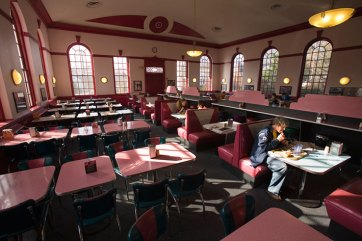 Photo of students dining in Seacobeck. The longtime dining hall ended meal service in 2015 with the opening of the University Center.