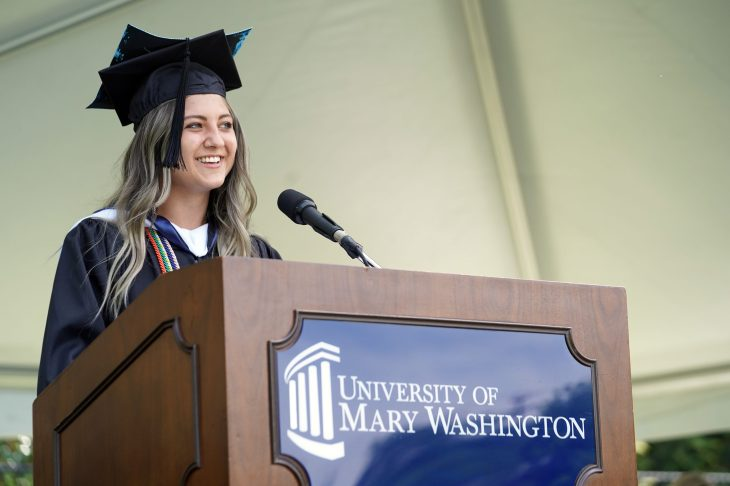 Lillian Lester '20, who served as treasurer of her senior class, spoke to her classmates during the first of nine Commencement ceremonies for the Classes of 2020 and 2021. Photo by Suzanne Carr Rossi.