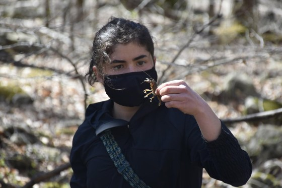 Liliana Ramirez examines a crayfish during one of the SMSC cohort's hikes in nearby Shenandoah National Park. Photo Credit: Smithsonian-Mason School of Conservation.