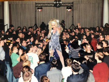 PRISM planned Mary Washington's first-ever drag show, hiring professional drag queens from Richmond to perform. The club's members were surprised and pleased by the large turnout, Fortner said, which included not only students, but members of the local community. Photo courtesy of Mark Thaden.