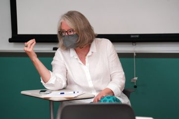Professor of Art History Julia DeLancey served as one of the Common Experience faculty facilitators. Photo by Suzanne Carr Rossi.