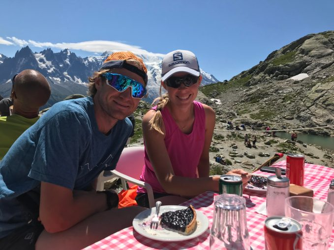 Ambrose and wife Stephanie Lefferts '11 take a break mid-run in Europe. Photo by Giles Ruck.