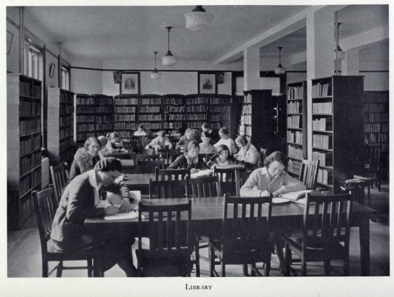 Students complete coursework in Virginia Hall in 1932. The space, originally designed as a parlor for gatherings, served for a while as the college library. Feedback sessions during the planning stages for the hall's 14-month renovation showed student interest in preserving the parlor's essence. Photo courtesy of UMW Special Collections and University Archives.