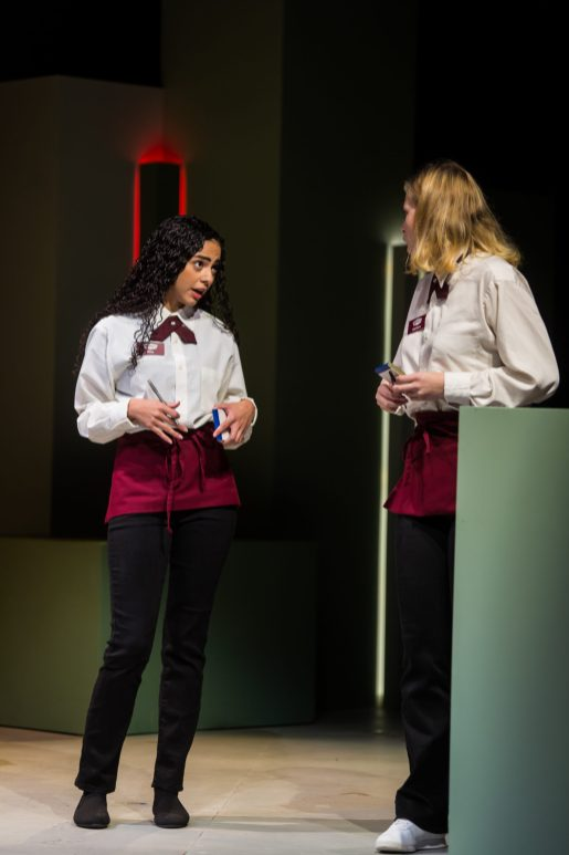 Mina Sollars (L) and Shannon Hardy appear in Joan Holden's 'Nickel and Dimed.' Photo by Geoff Greene.