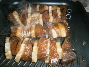 Fischspieße in Currysoße