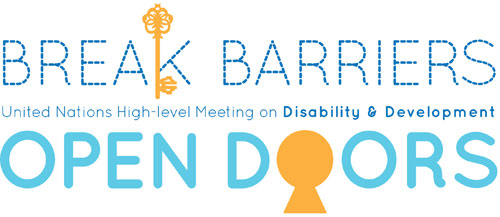 A visual identity created for the High-level meeting of the General Assembly on disability and development with the text 'Break Barriers: Open Doors' that also includes symbols of a key and keyhole.