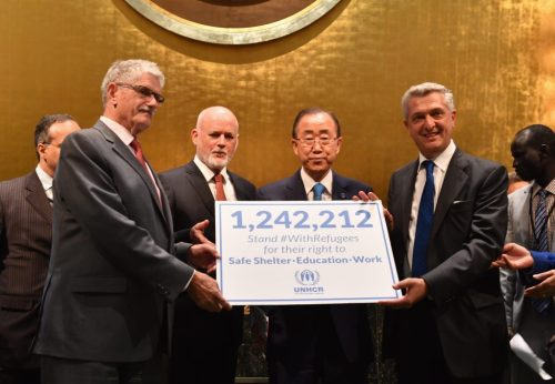 UNHCR #WithRefugees petition handover at UN General Assembly Hall at United Nations on September 16, 2016 in New York City.