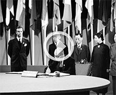 vidéo historique sur la signature de la Charte des Nations Unies