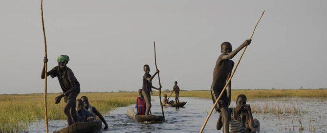 الصيد في مستنقعات نيال جنوب السودان. المصدر: الفاو / ليكه فيسر