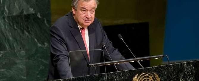 El Secretario General António Guterres ante la Asamblea General. Foto: ONU/Rick Bajornas