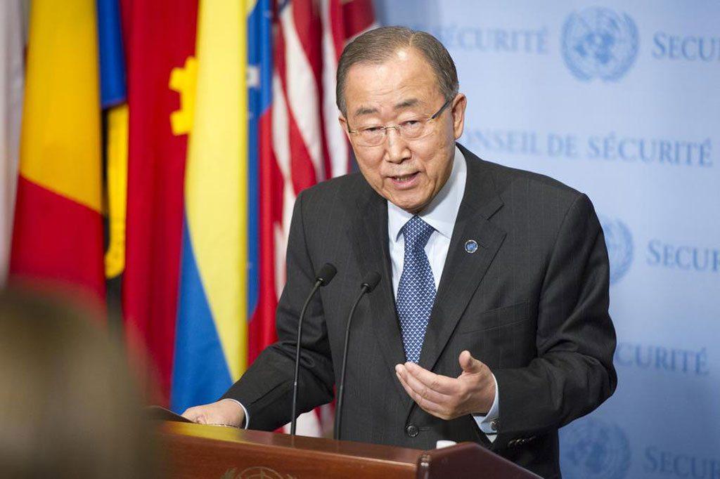 Le Secrétaire général Ban Ki-moon s'exprime devant la presse au siège de l'ONU.