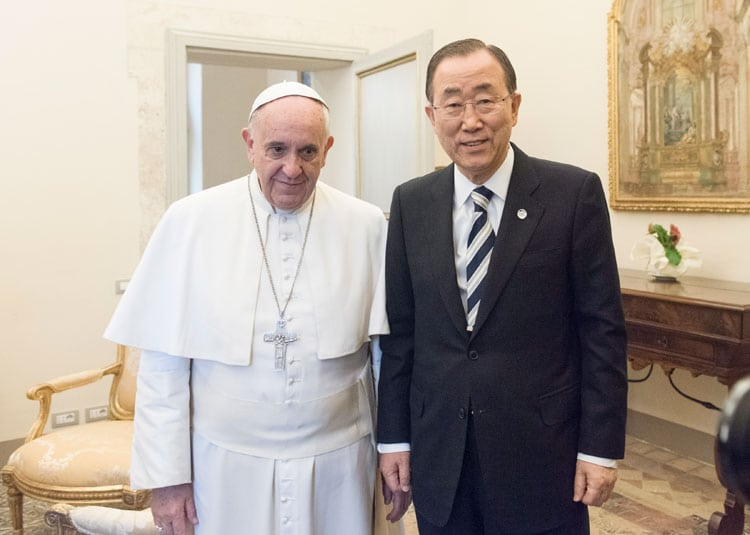 Secretary-General Ban Ki-moon meets with Pope Francis at the Vatican. UN Photo: Mark Garten