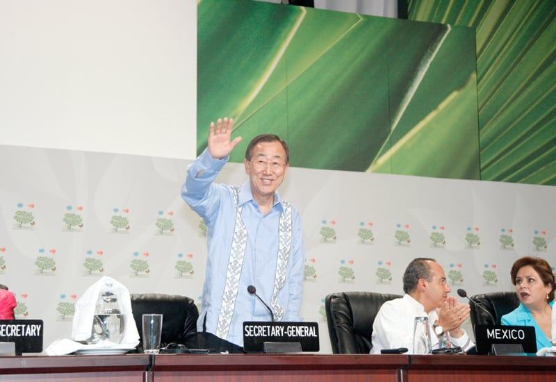 Photo: Mr. Ban addresses the opening of UN Climate Change Summit in Cancun, Mexico.