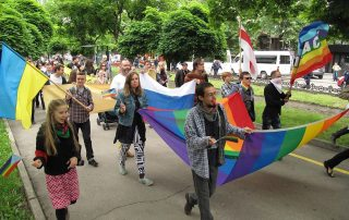Photo: Lesbian, gay, bisexual, transgender and intersex (LGBTI) pride march.