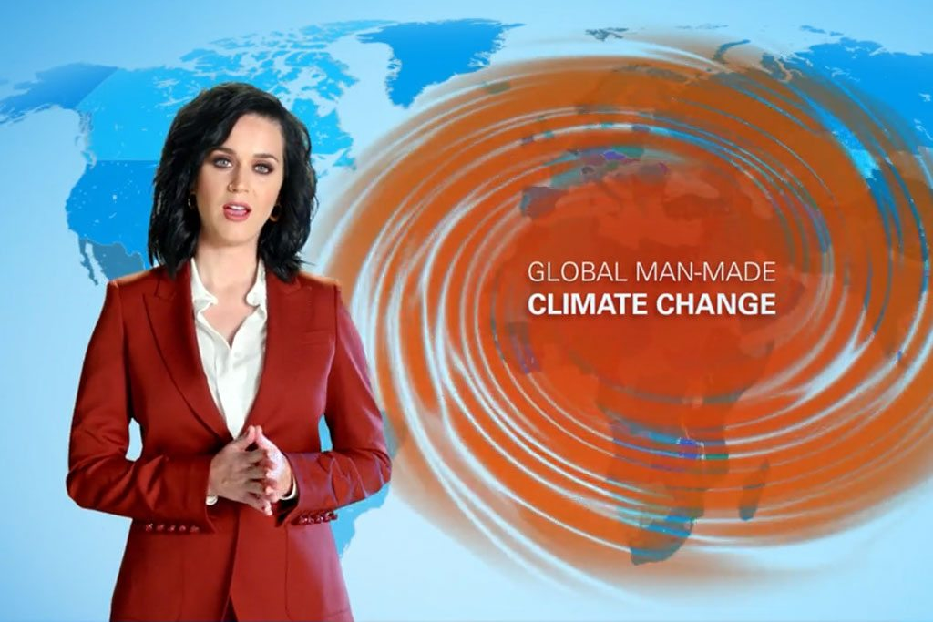 Photo: UNICEF Goodwill Ambassador Katy Perry reads a unique weather report to draw attention to the devastating effects of climate change on the world's children.