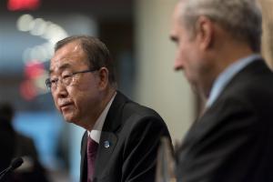 Secretary-General Ban Ki-moon addresses the press in NY.