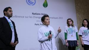 Photo: UNFCCC chief Christiana Figueres speaks at Youth Day at #COP21 in Paris.