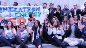 Youth participate in Day 3 of the COP21 in Paris, which featured programming on small island nations.