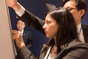 Photo: Ban Ki-moon records a video message to civil society while in Paris for the UN Climate Change Conference.
