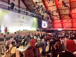 Photo: UNFCCC Executive Director Christiana Figueres speaks to the COP21 audience on 1 December in Paris.