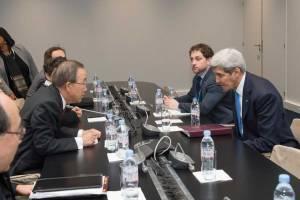 Photo: Secretary-General Ban Ki-moon meets with H.E. Mr. John F. Kerry, Secretary of State of the United States.