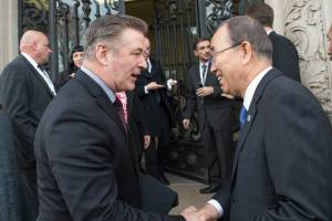 "Photo: Ban Ki-moon (right) meets actor and activist Alec Baldwin at the ""Earth to Paris"" event."