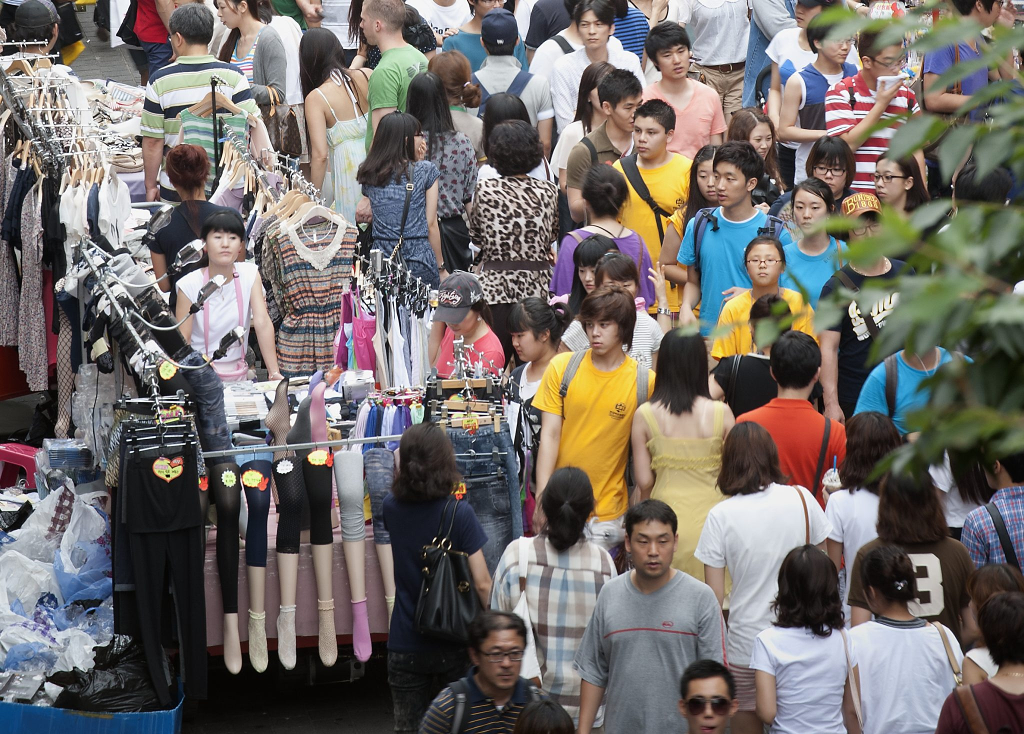 Photo: A throng of shoppers in Myungdong, downtown Seoul.