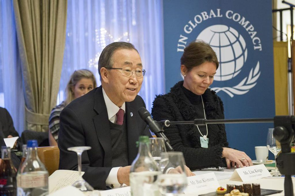 Photo: Secretary-General Ban Ki-moon participates in a Global Compact event on UN-Business Collaboration in Davos, Switzerland.