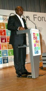 Photo: SDG Advocate and Ghana President John Dramani Mahama speaks at the event on 21 January in Davos, Switzerland.